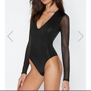 Nasty Gal Sheer Bodysuit (size 0)
